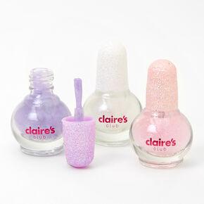 Claire's Club Mini Pastel Glitter Peel-Off Nail Polish Set - 3 Pack,