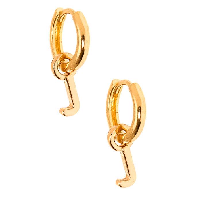 Gold 10MM Initial Huggie Hoop Earrings - J,