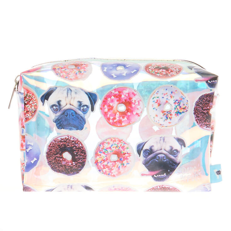 Doug The Pug® Holographic Donut Print Cosmetics Bag,