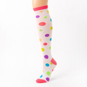 Rainbow Polka Dot Knee High Socks,