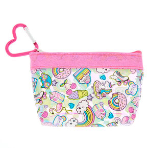 Rainbow Emoticon Zip Coin Purse - Pink,