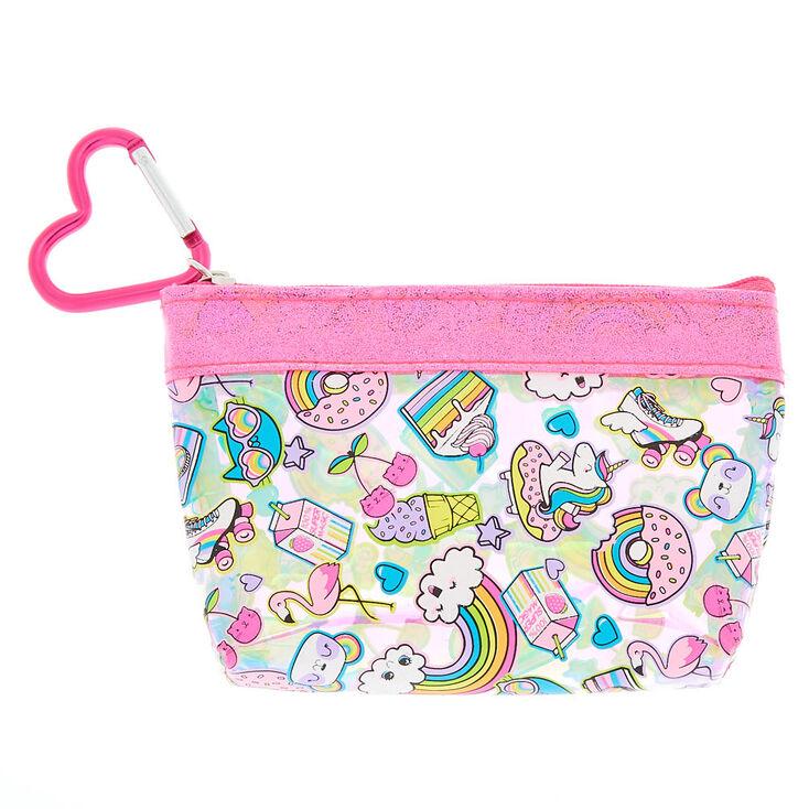 Rainbow Emoticon Zip Coin Purse - Pink,