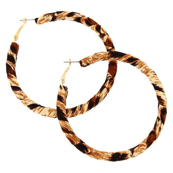 Claire's - 70mm leopard wrap hoop earrings - 1