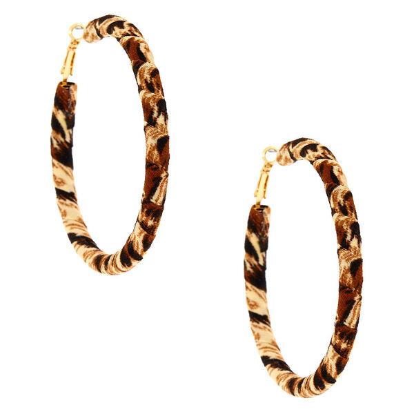 Claire's - 70mm leopard wrap hoop earrings - 2