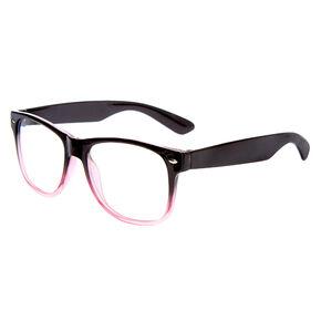 Ombre Rectangle Clear Lens Frames - Black,