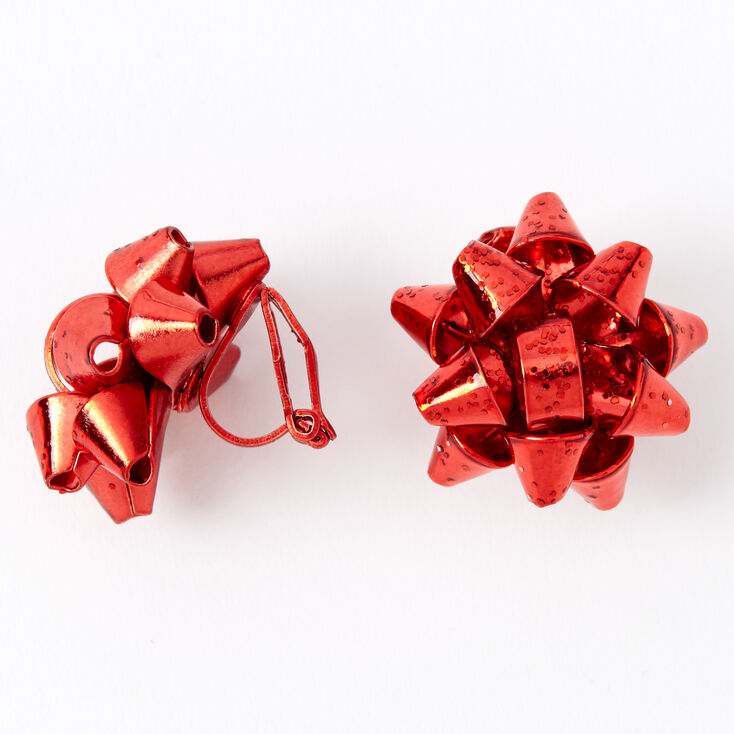 Holiday Bow Clip On Earrings - Red,