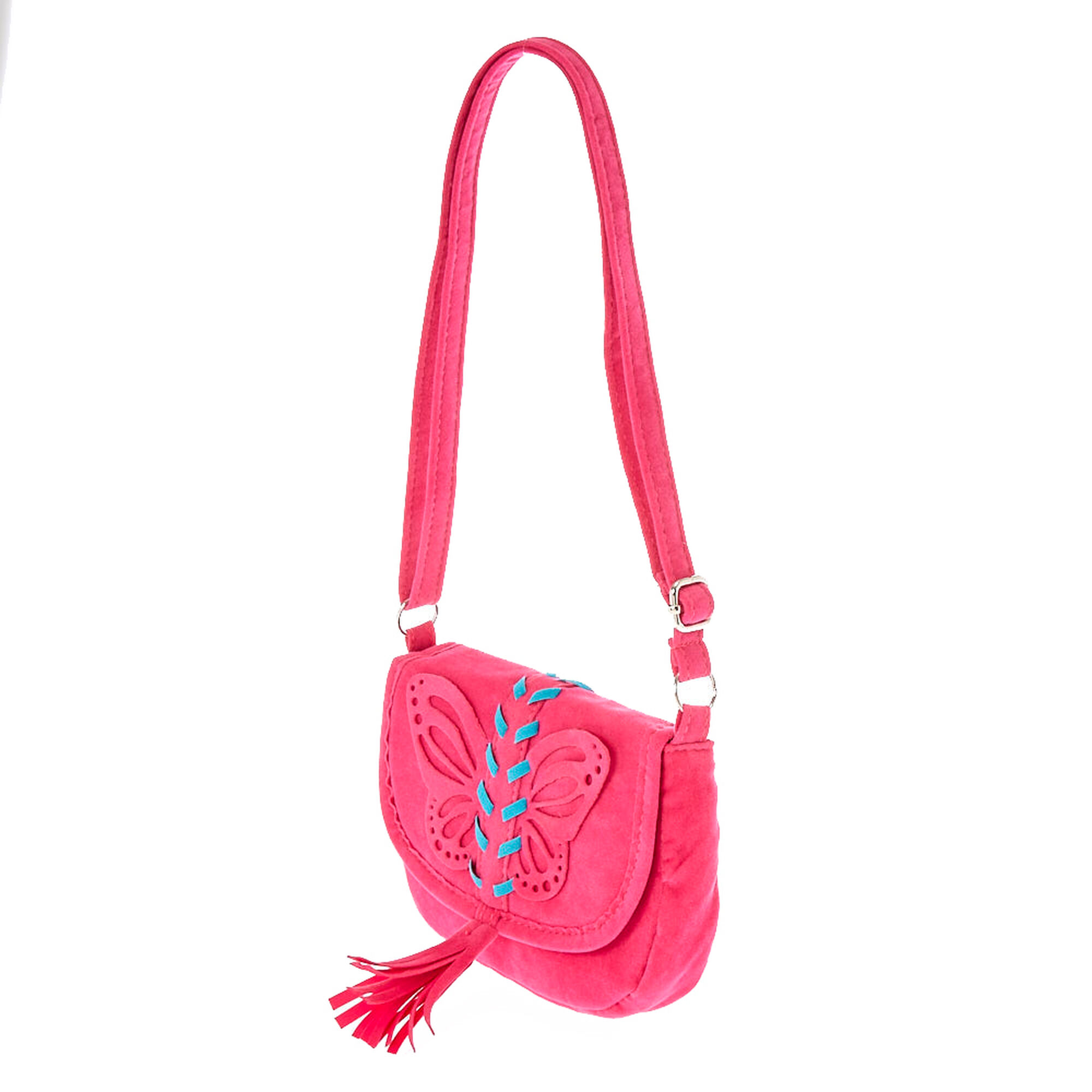 d3269b949b10 Kids Pink Faux Suede Butterfly Crossbody Bag   Claire's US