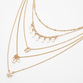 Collier multi-rangs avec chaîne céleste aux designs variés couleur dorée,