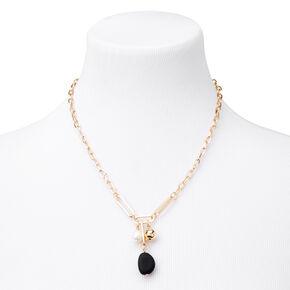 Collier de chaîne à pendentif perle d'imitation mat couleur dorée - Noir,