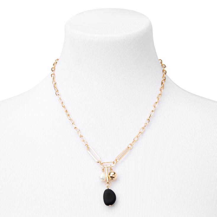 Gold Matte Pearl Pendant Chain Necklace - Black,