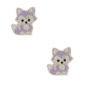 Sterling Silver Fox Stud Earrings - Lavender,