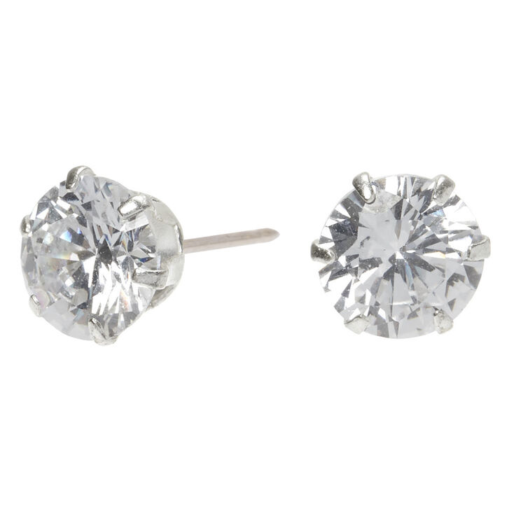 Sterling Silver Cubic Zirconia Round Stud Earrings 10mm Claire S Us