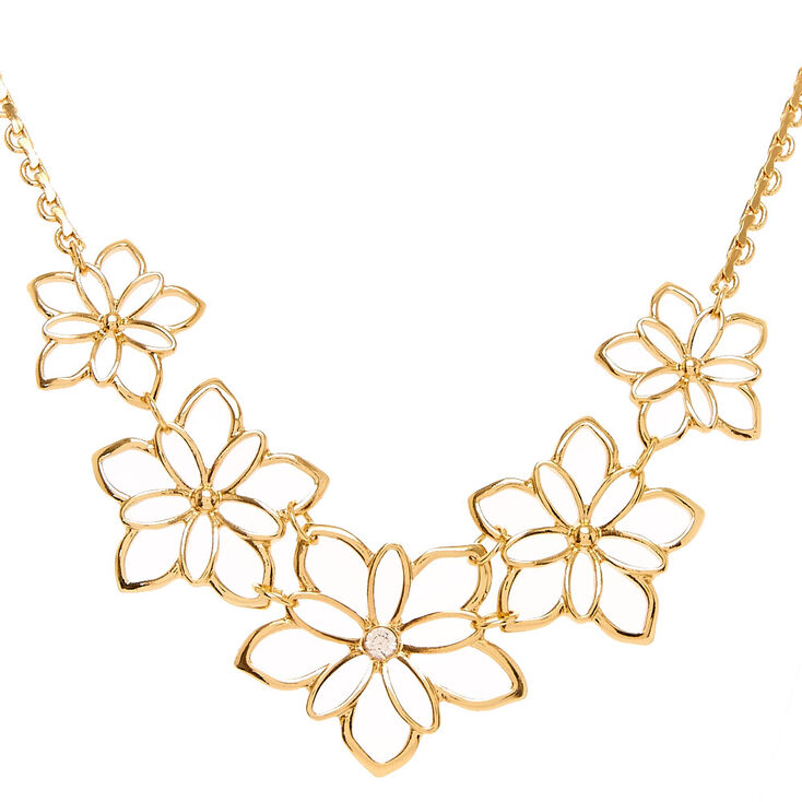 Gold Cut Out Flower Statement Necklace,