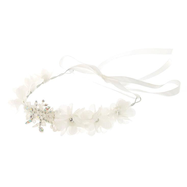 Applique Stone Flower Headwrap - White,