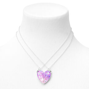 Best Friends Confetti Stars Split Heart Pendant Necklaces - 2 Pack,