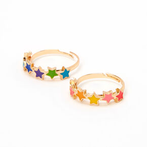 Rainbow Star Gold Rings - 2 Pack,