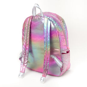 Quilted Star Holographic Rainbow Medium Backpack,