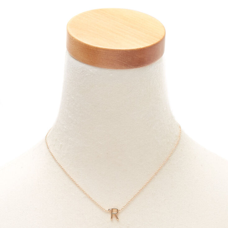Gold Stone Initial Pendant Necklace - R,