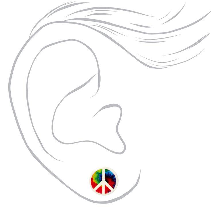 Rainbow Tie Dye Peace Sign Stud Earrings,