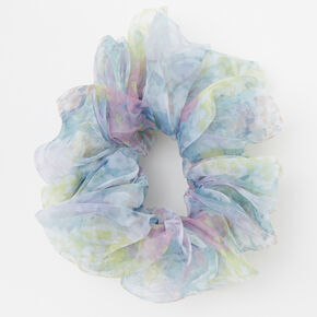 Giant Sheer Floral Hair Scrunchie - Blue,