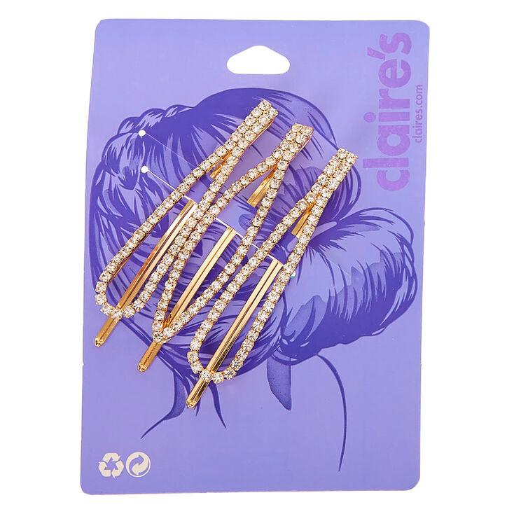 Gold Rhinestone Oval Hair Pins - 3 Pack,
