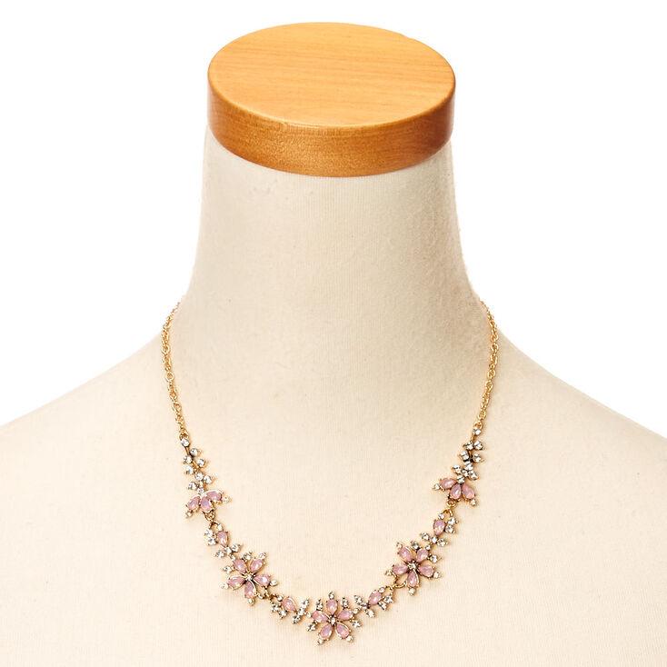 Collier volumineux à fleurs de pierre d'imitation roses ton couleur doré rose,