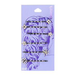 Flower Cluster Hair Pins - Black, 6 Pack,
