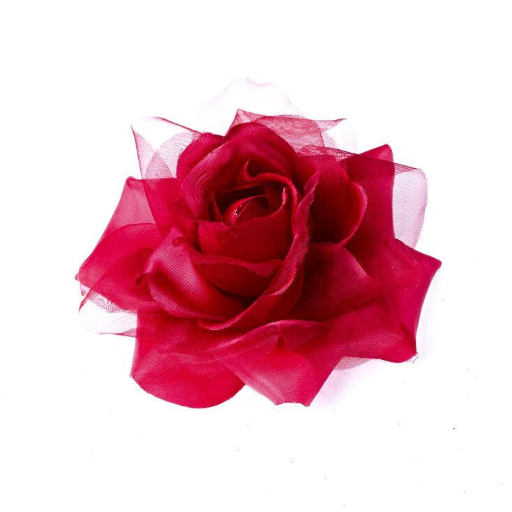 Barrette à cheveux avec rose en mousseline rouge,