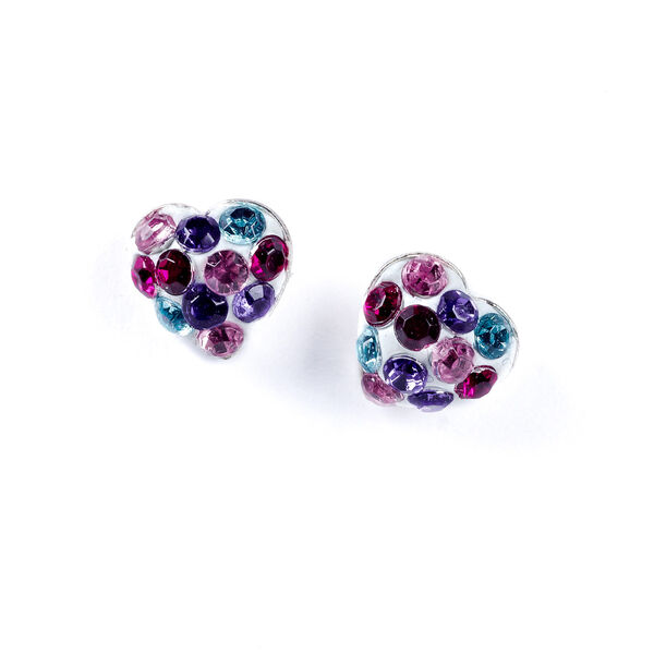 Claire's - sterling stone heart stud earrings - 1