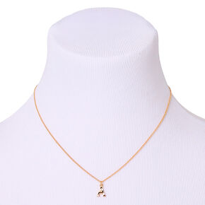 Gold Striped Initial Pendant Necklace - A,