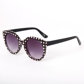 Chic Gingham Round Sunglasses - Black,