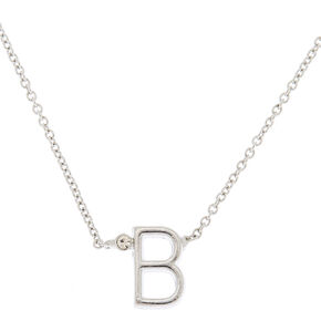 Silver Stone Initial Pendant Necklace - B,