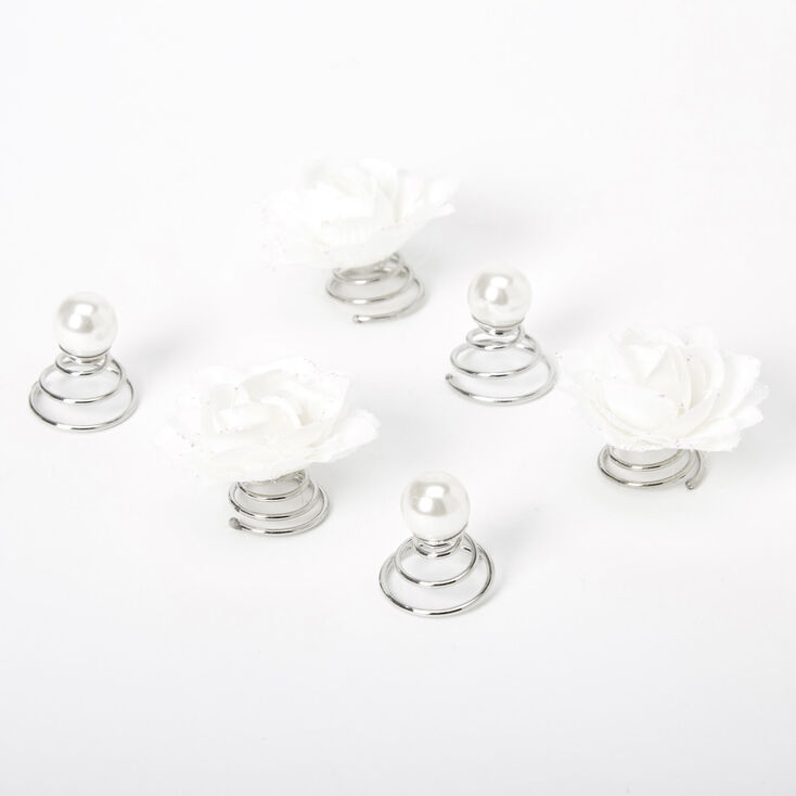Roses & Pearls Hair Spinners - White, 6 Pack,