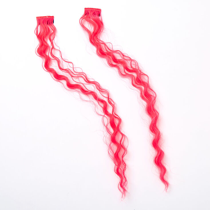 Curly Faux Hair Clip In Extensions - Neon Pink, 2 Pack,