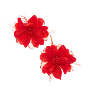 Hair clips grips claws claires us red lily feathers hair clips mightylinksfo