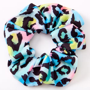 Medium Rainbow Leopard Hair Scrunchie,