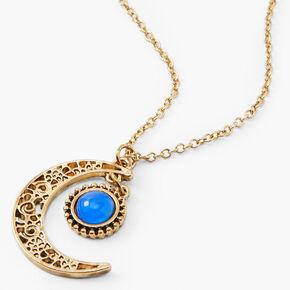 Gold Filigree Crescent Moon Mood Pendant Necklace,