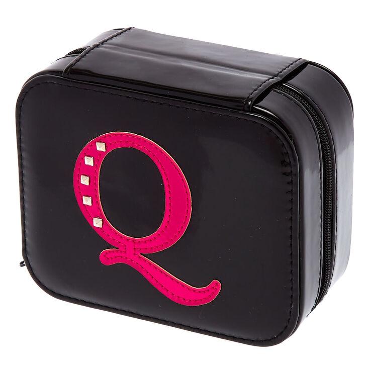 Boîte à bijoux rose métallique initiale «Q»,