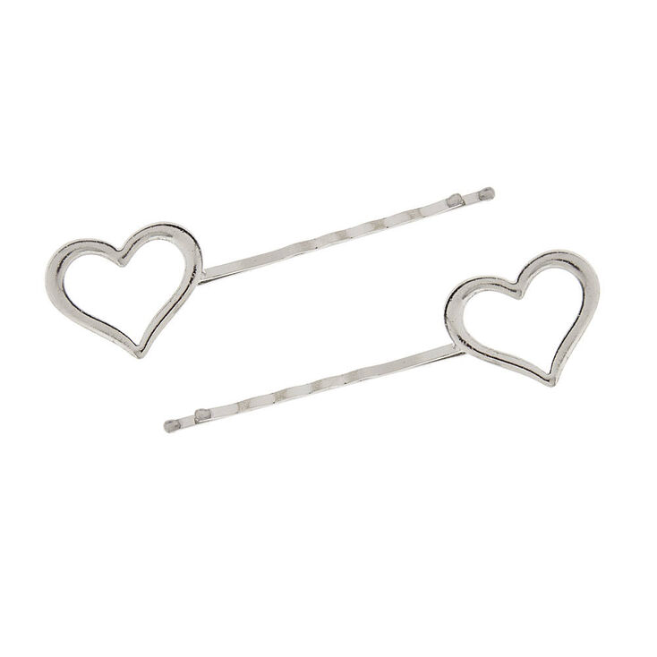 70fbc4abd Silver Heart Bobby Pins | Claire's US