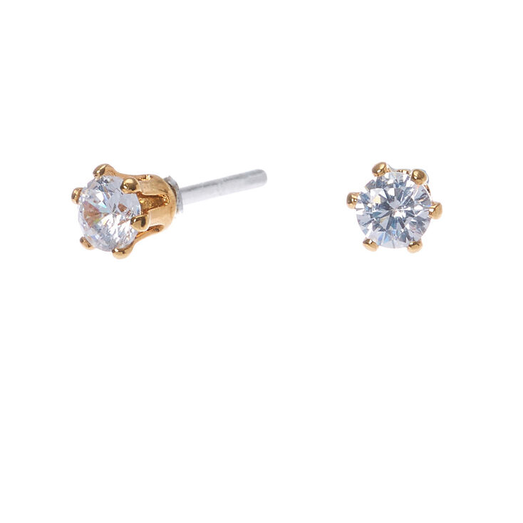 18kt Gold Plated Cubic Zirconia 3MM Round Stud Earrings,