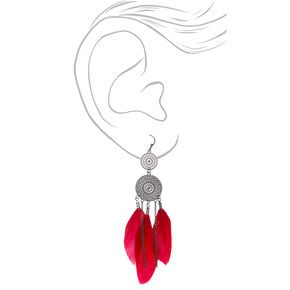 "Hematite 3.5"" Filigree Feather Drop Earrings,"