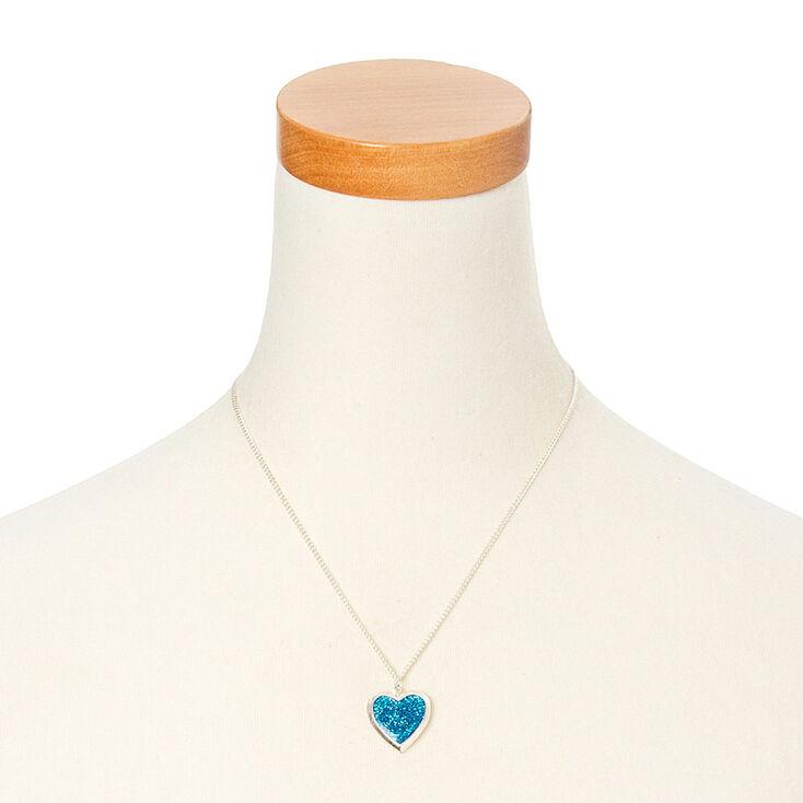 Glitter Heart Locket Necklace - Blue,