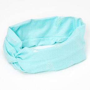 Metallic Pineapple Twisted Wide Jersey Headwrap - Aqua,