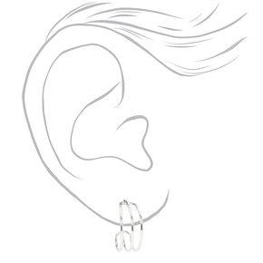Silver 15MM Triple Hoop Earrings,