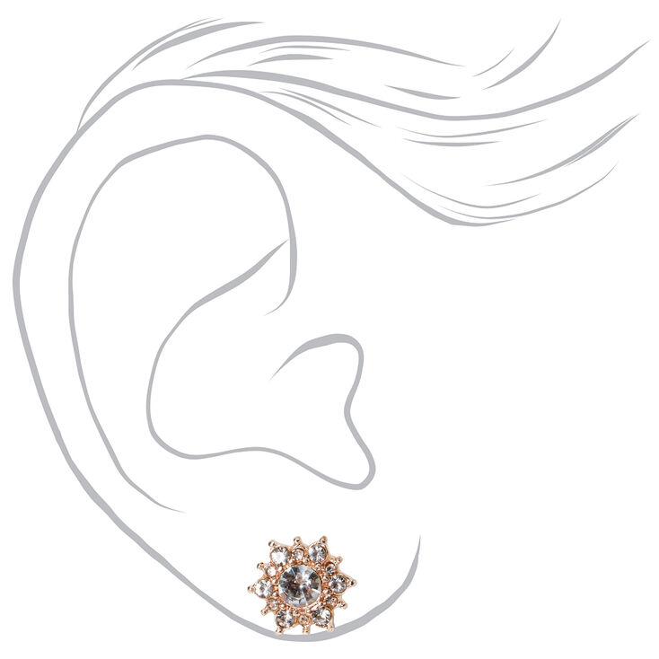 Rose Gold Crystal Pearl Stud Earrings - Blush Pink, 6 Pack,