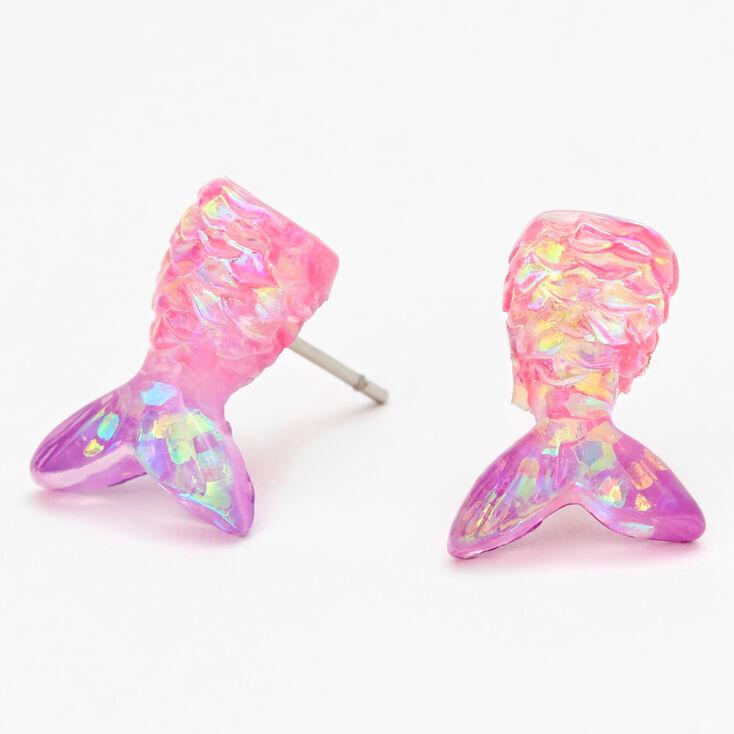 Iridescent Mermaid Tail Stud Earrings,