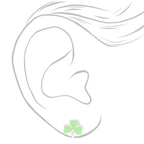 Shamrock Stud Earrings - Green,