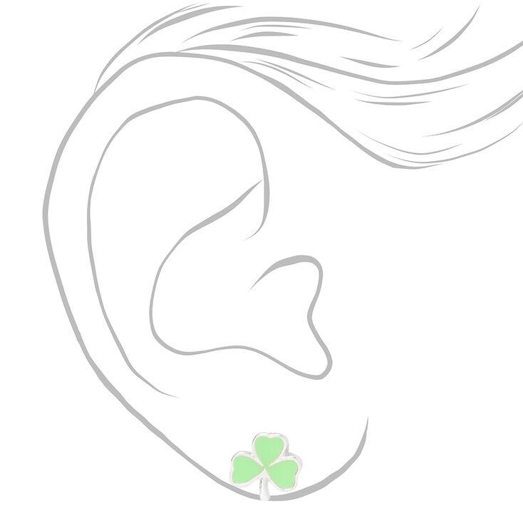 Shamrock Stud Earrings - Green,