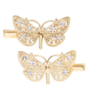 Gold Floral Butterfly Hair Clips - 2 Pack,