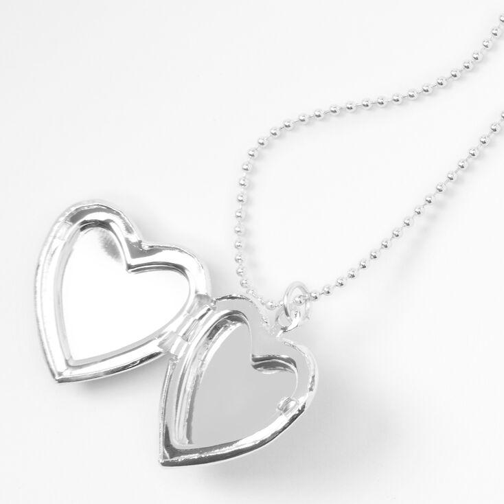Silver Rainbow Tie Dye Heart Locket Pendant Necklace,